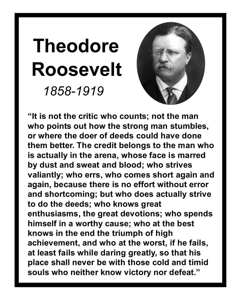 "Theodore Roosevelt Quotes: Theodore Teddy Roosevelt "" It Is Not The..."" Quote 8 X 10"