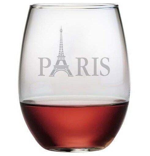 Stemless wine glasses paris design with eiffel tower set for Hand designed wine glasses