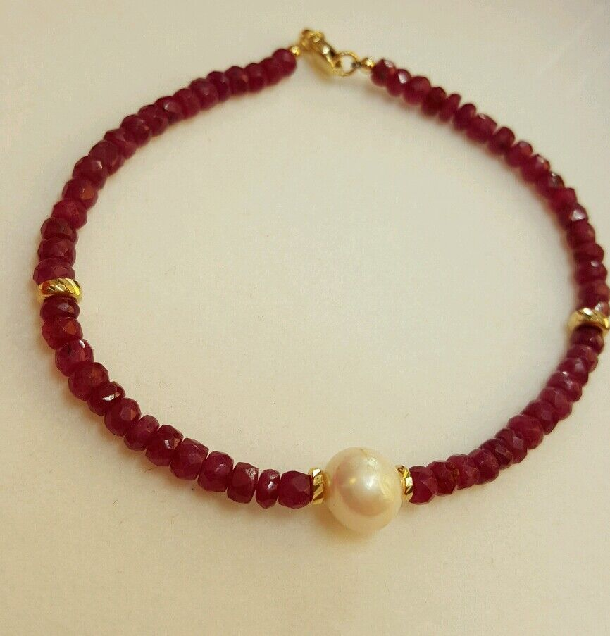 Genuine 15ct Ruby And White Freshwater Pearl Solid 14k