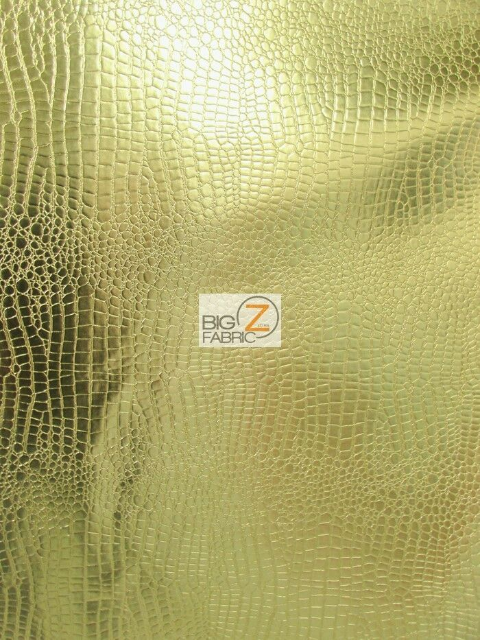 Shiny Alligator Embossed Faux Leather Vinyl Fabric Gold