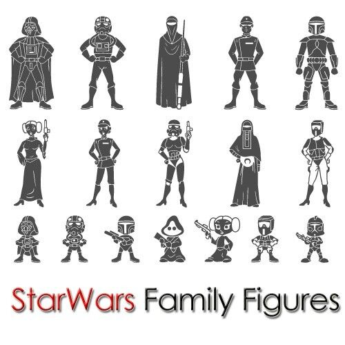 Custom King Size Star Wars Family Sticker Figure Car