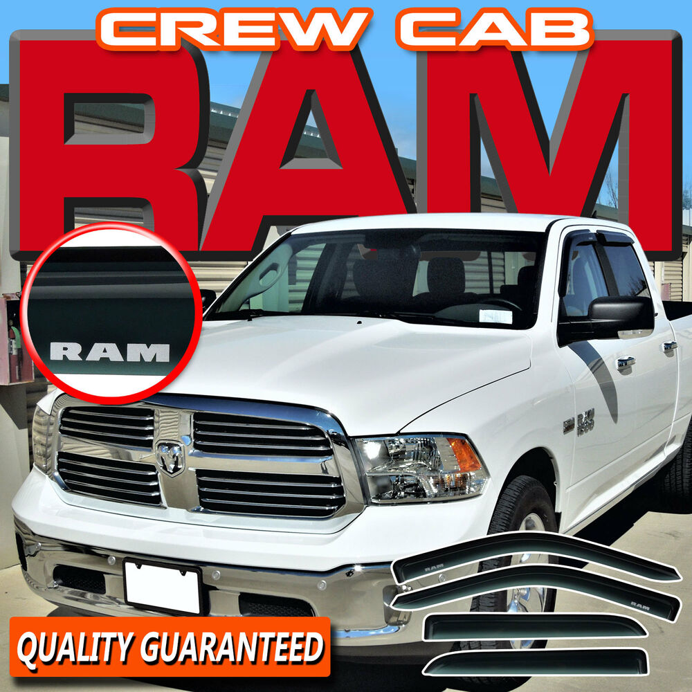 ram 1500 crew cab 2009-2016 side window sun  u0026 rain deflectors