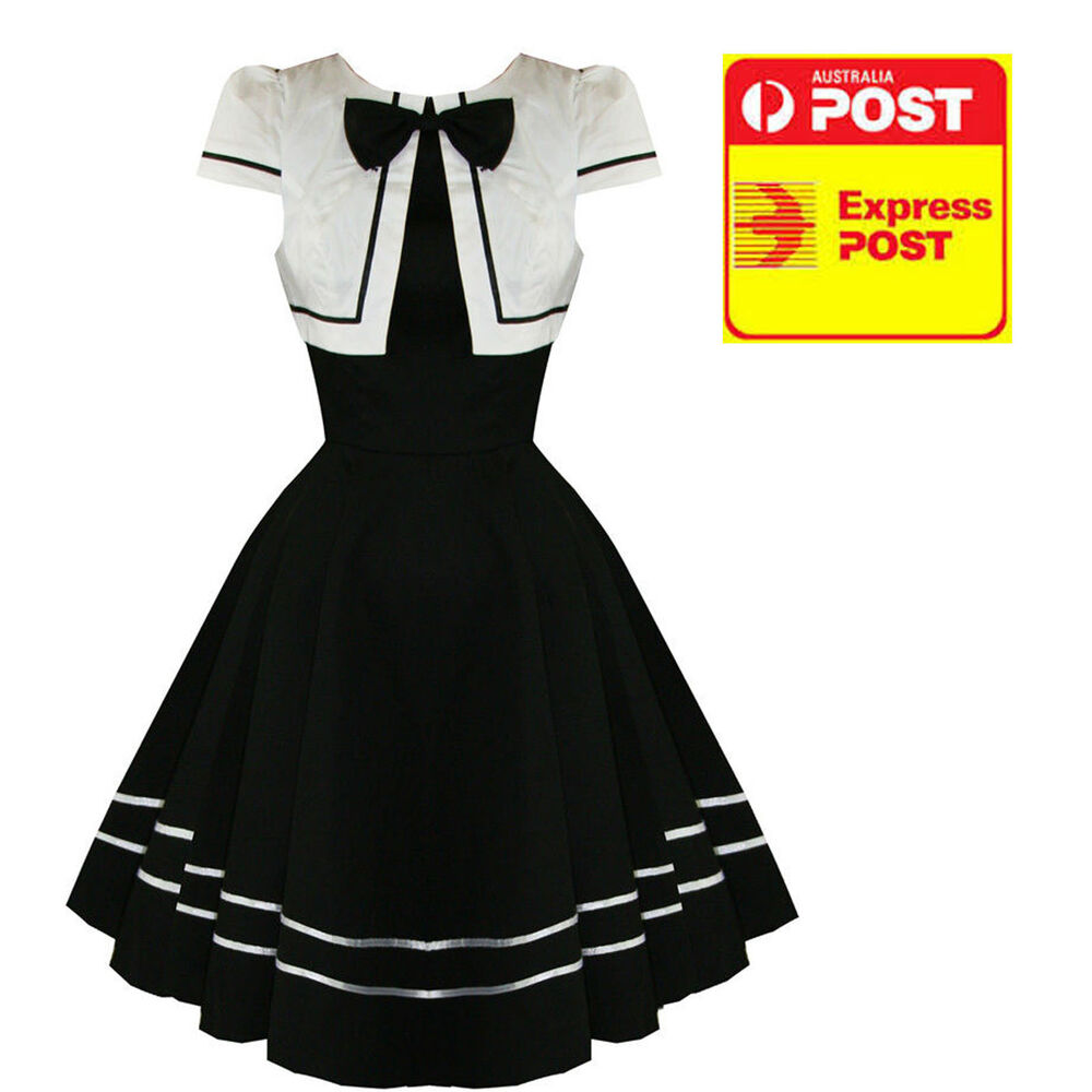 Hearts And Roses Black & White Long Bow Dress Vintage