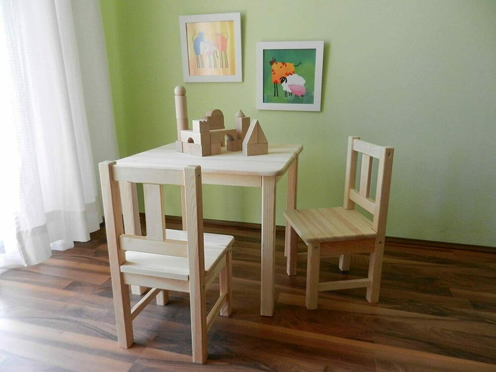 kindersitzgruppe unbehandelt 1 tisch 2 st hle 1 kindersitzbank mit deckelbremse ebay. Black Bedroom Furniture Sets. Home Design Ideas