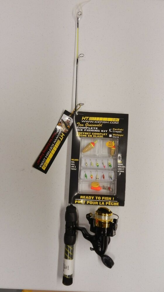 Ht 24 light tom gruenwald complete ice fishing kit rod for Ice fishing rod and reel combo