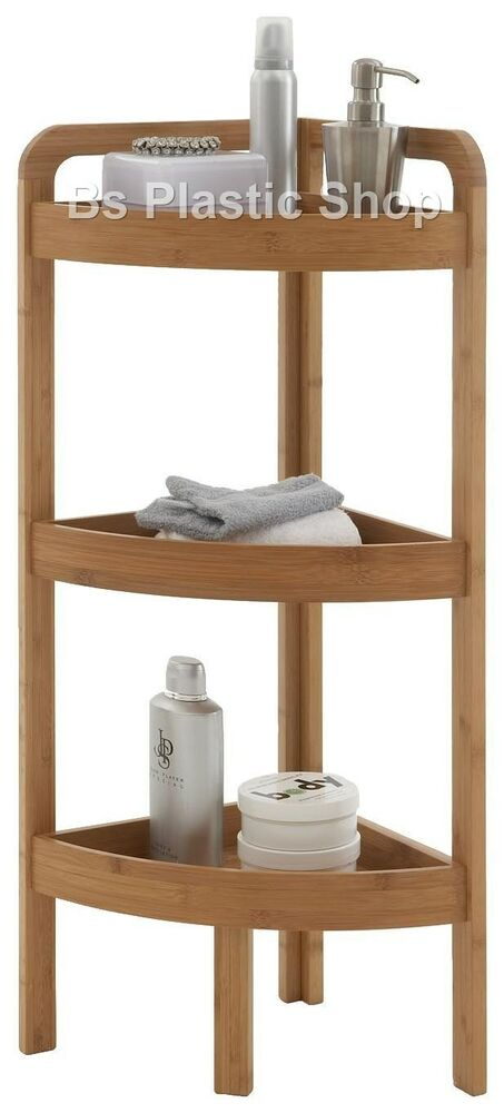 Wooden Corner Shelf 3 Tier Bamboo Storage Unit Bathroom Living Room Shelves Rack Ebay