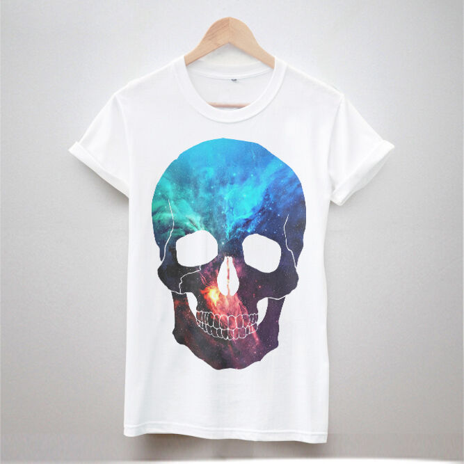 new skull galaxy t shirt print tumblr hipster women fresh. Black Bedroom Furniture Sets. Home Design Ideas