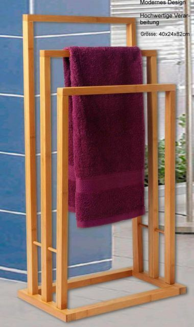Bamboo Towel Rail Rack 3 Tier Bathroom Organizer Holder Storage Free Standing Ebay