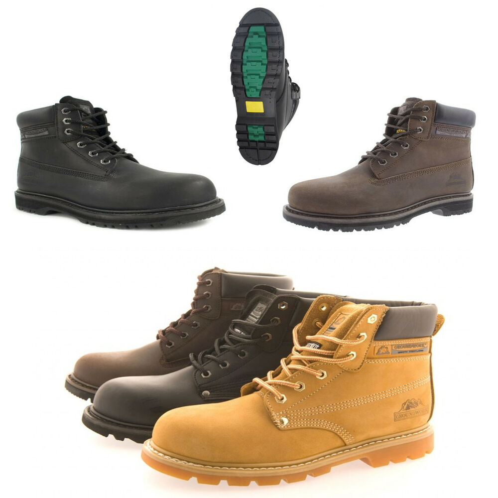 Mens Size 6 13 Leather Steel Toe Cap Safety Groundwork