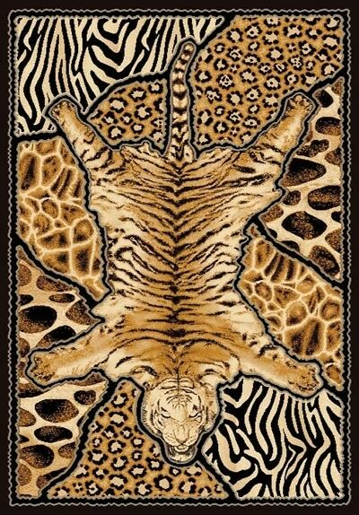 6 X 8 African Safari Animal Skins Print Tiger High