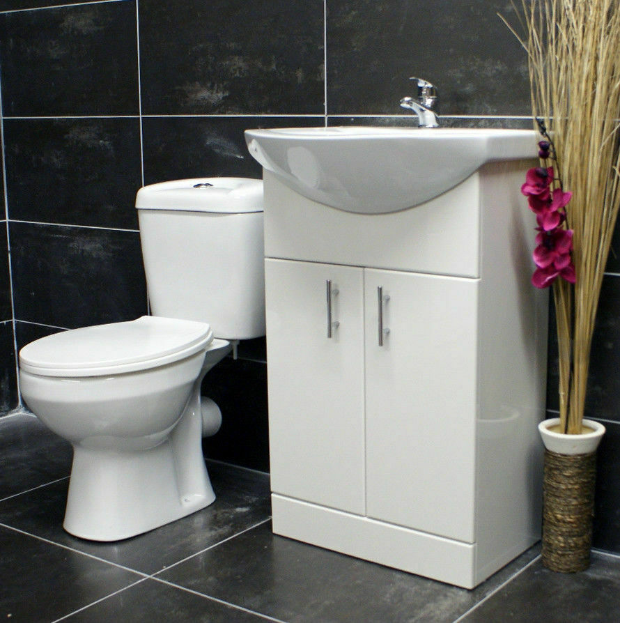 550mm Bathroom Cloakroom Vanity Basin Sink Unit & Toilet