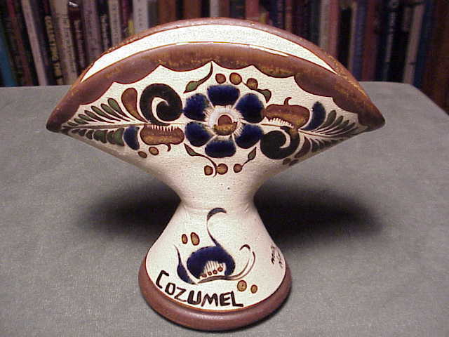 Vintage Hand Painted Enamelled Mexican Pottery Cozumel