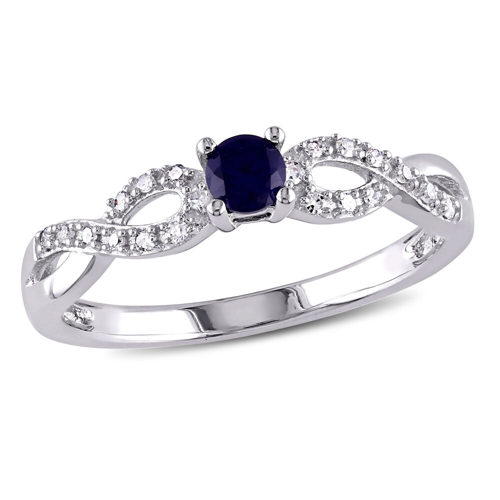 Sterling Silver Blue Sapphire and Diamond Crossover Ring 33 Ct G H I2 I3
