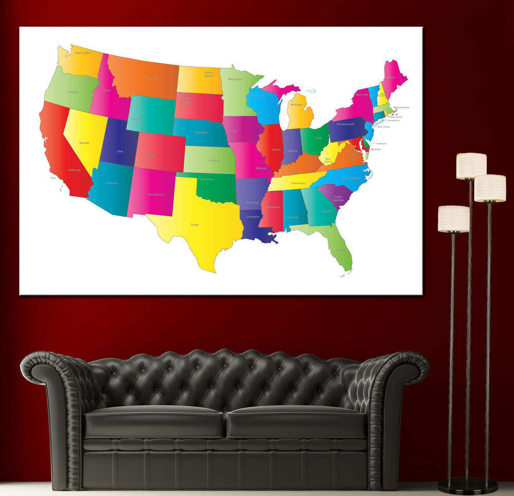 Colorful Wall Decor: USA Colorful Map United States Canvas Print Fine Wall Art