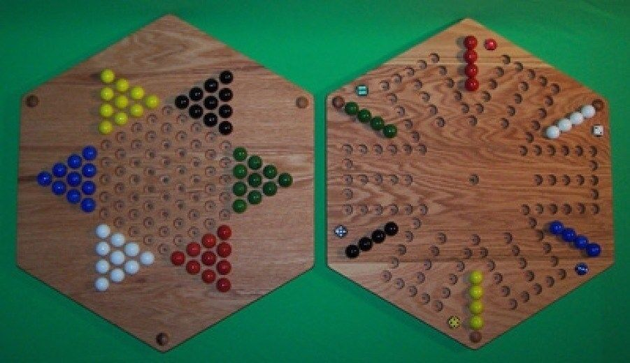 Two sided wooden game board aggravation and chinese for Chinese checkers board template