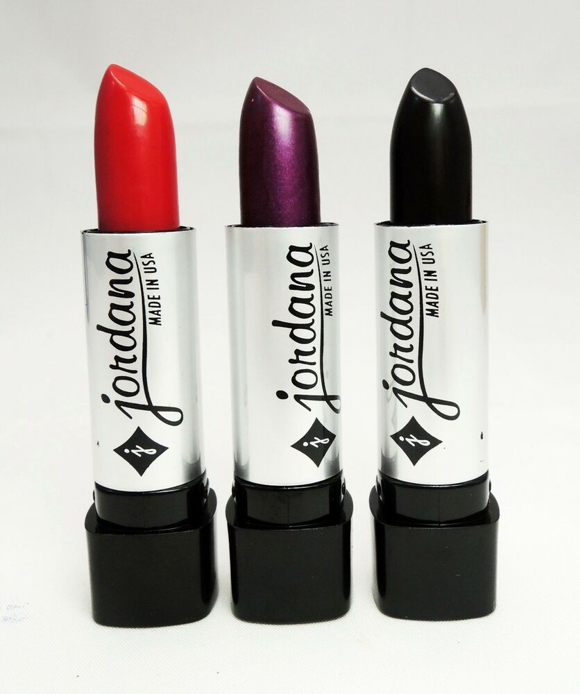 3 PCs Jordana Lipstick - Black, Dark Purple & Red Color ...