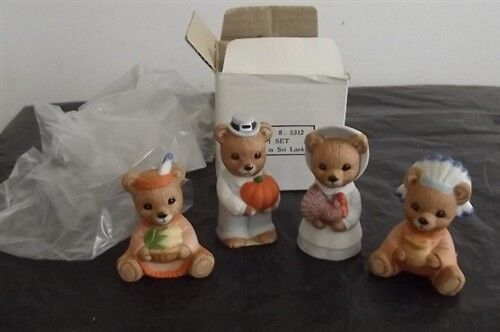 Homco Home Interiors Bear Thanksgiving Figurines Set Of 4