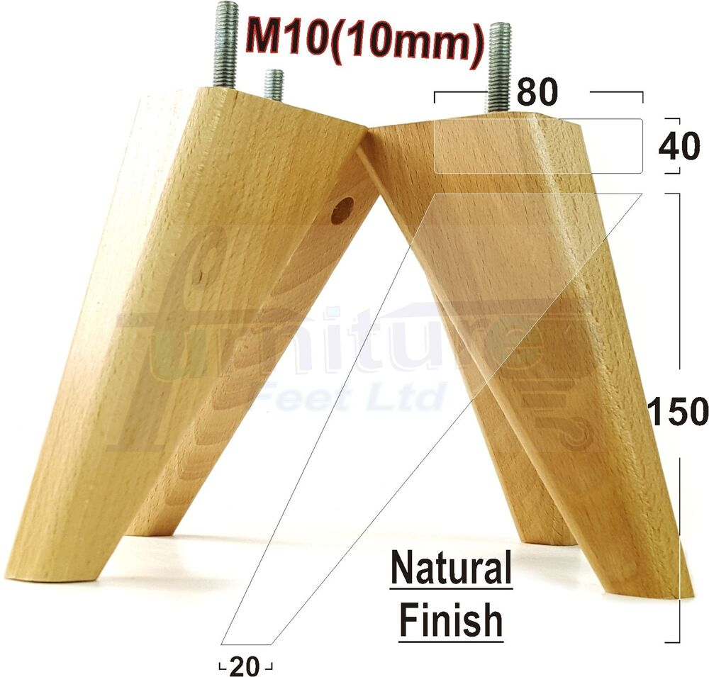 4x wooden feet wooden furniture legs for sofas chairs for Patas de muebles de madera