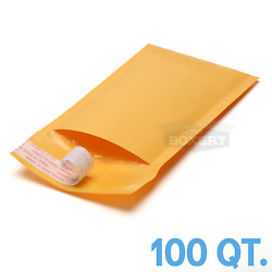 100 #00 5x10'' Kraft Bubble Padded Envelopes Mailers 5 x 10 from TheBoxery
