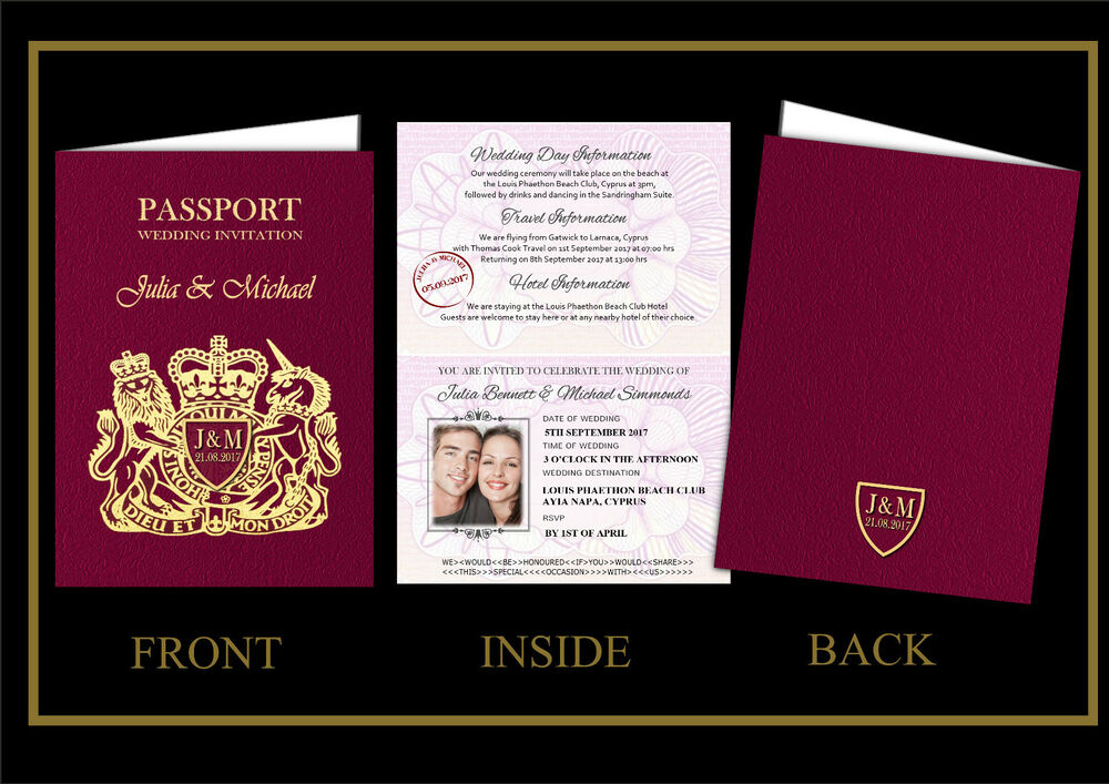 PERSONALISED WEDDING INVITATIONS-PASSPORT-ABROAD-BEACH-SAMPLE ...