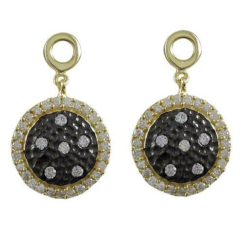 Gold Black Finish Sterling Silver Cz Hammered Circle Earrings Ebay