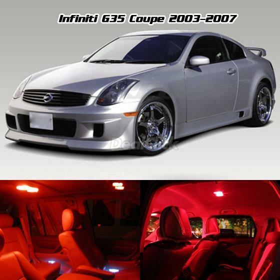 interior led full light package 7 pcs super red for 2003 2007 infiniti g35 coupe ebay. Black Bedroom Furniture Sets. Home Design Ideas