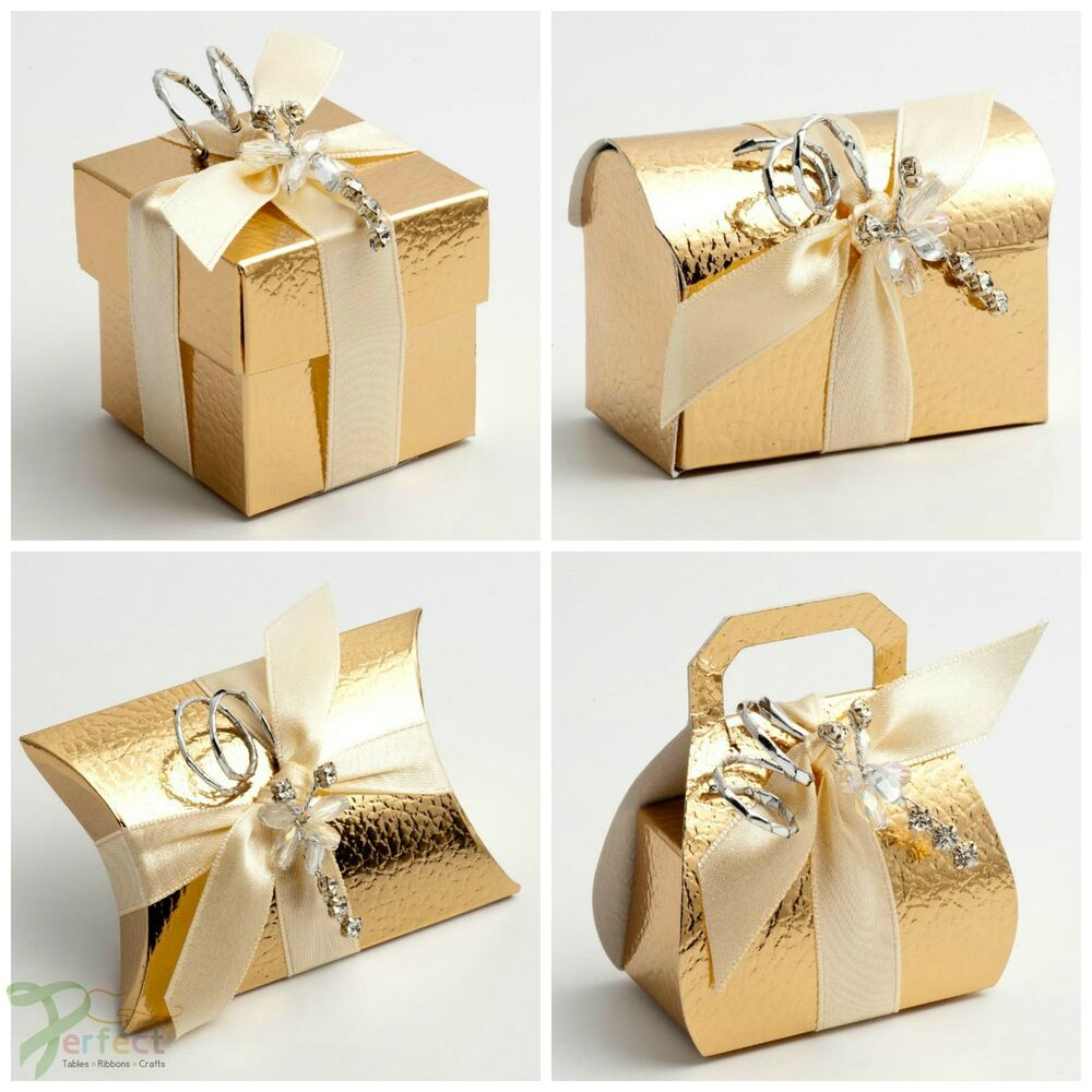 luxury diy wedding christmas table leather effect favour boxes shiny gold pelle ebay. Black Bedroom Furniture Sets. Home Design Ideas
