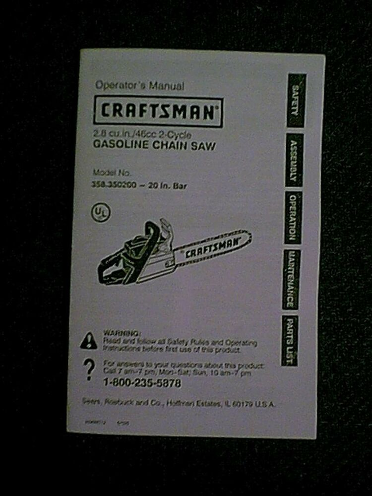 Craftsman 20 U0026quot  Chain Saw 358350200 Owners    Parts Manual