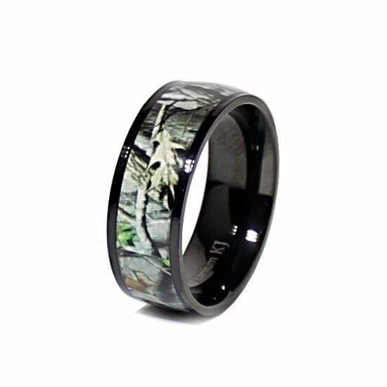 Real oak black camo titanium unisex hunting camouflage 7mm for Camoflauge wedding rings