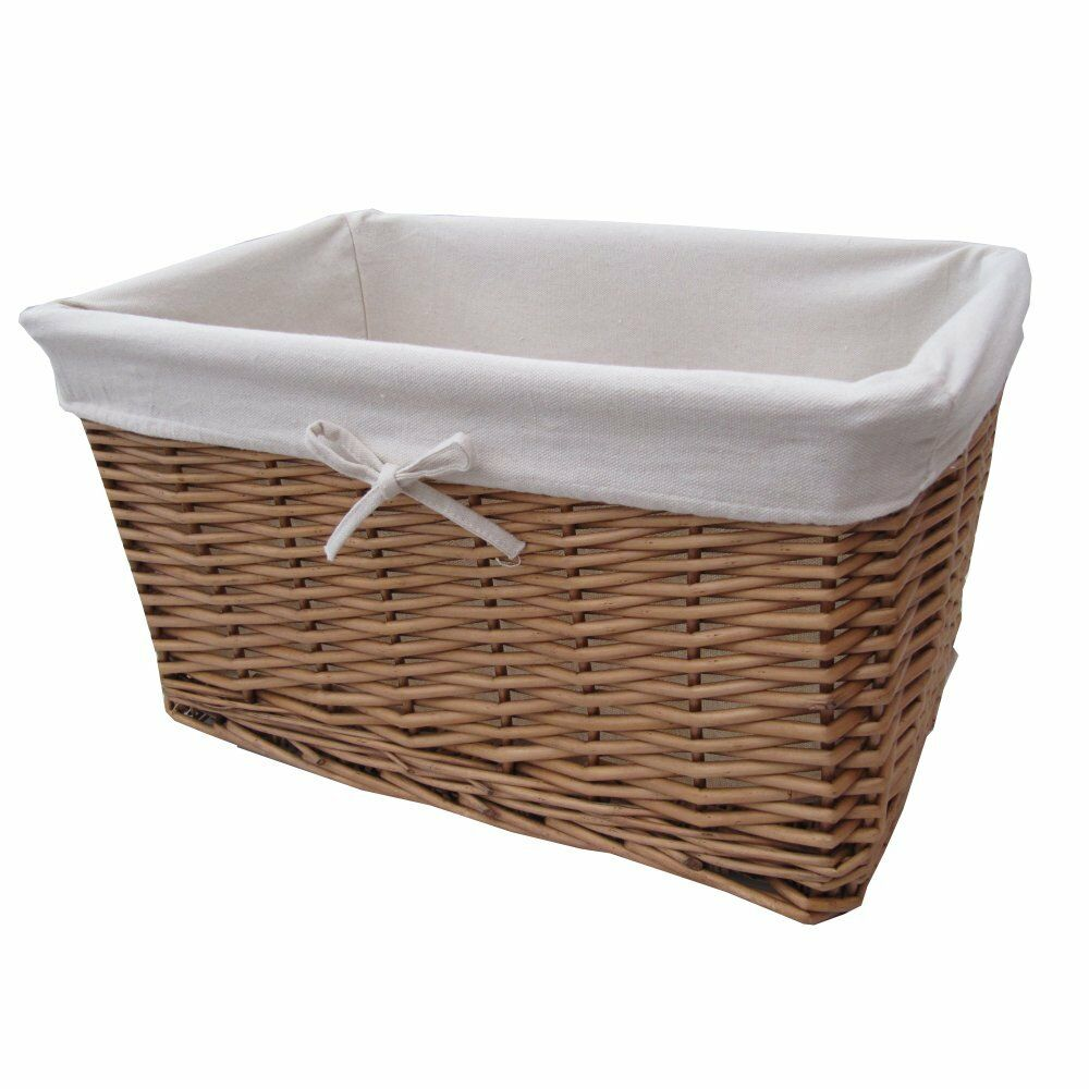Natural Wicker Lined Storage Basket Rectangular X Large