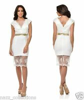 WHITE LACE EMBROIDERED MESH FITTED MIDI COCKTAIL EVENING PARTY DRESS 8-16