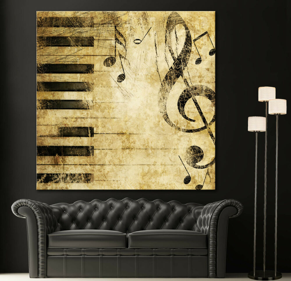 Wall Decor Prints Canvas : Black white piano keys music note canvas home fine wall