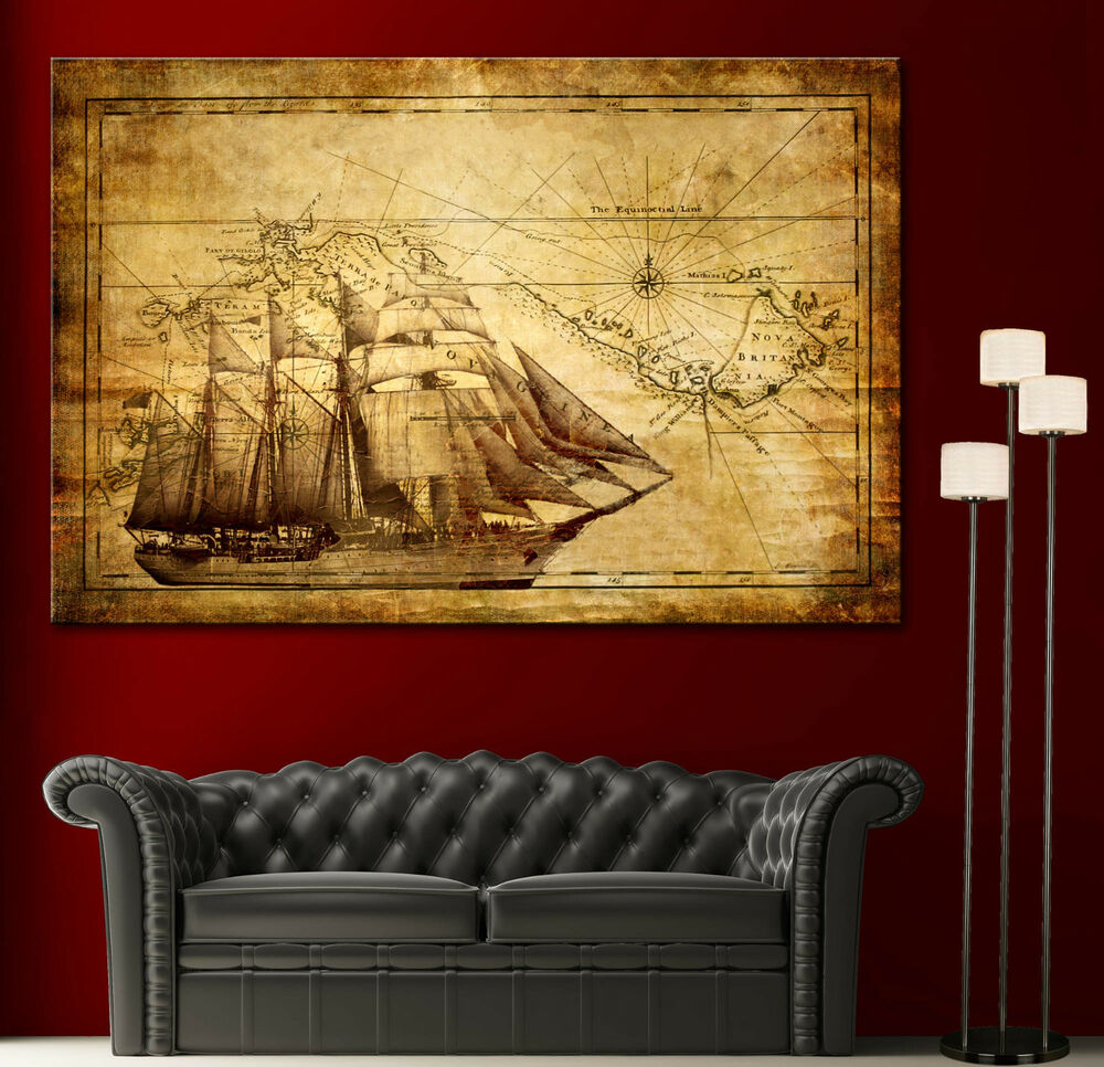 Canvas Home Wall Art Print Sail Ship Map Decor Vintage