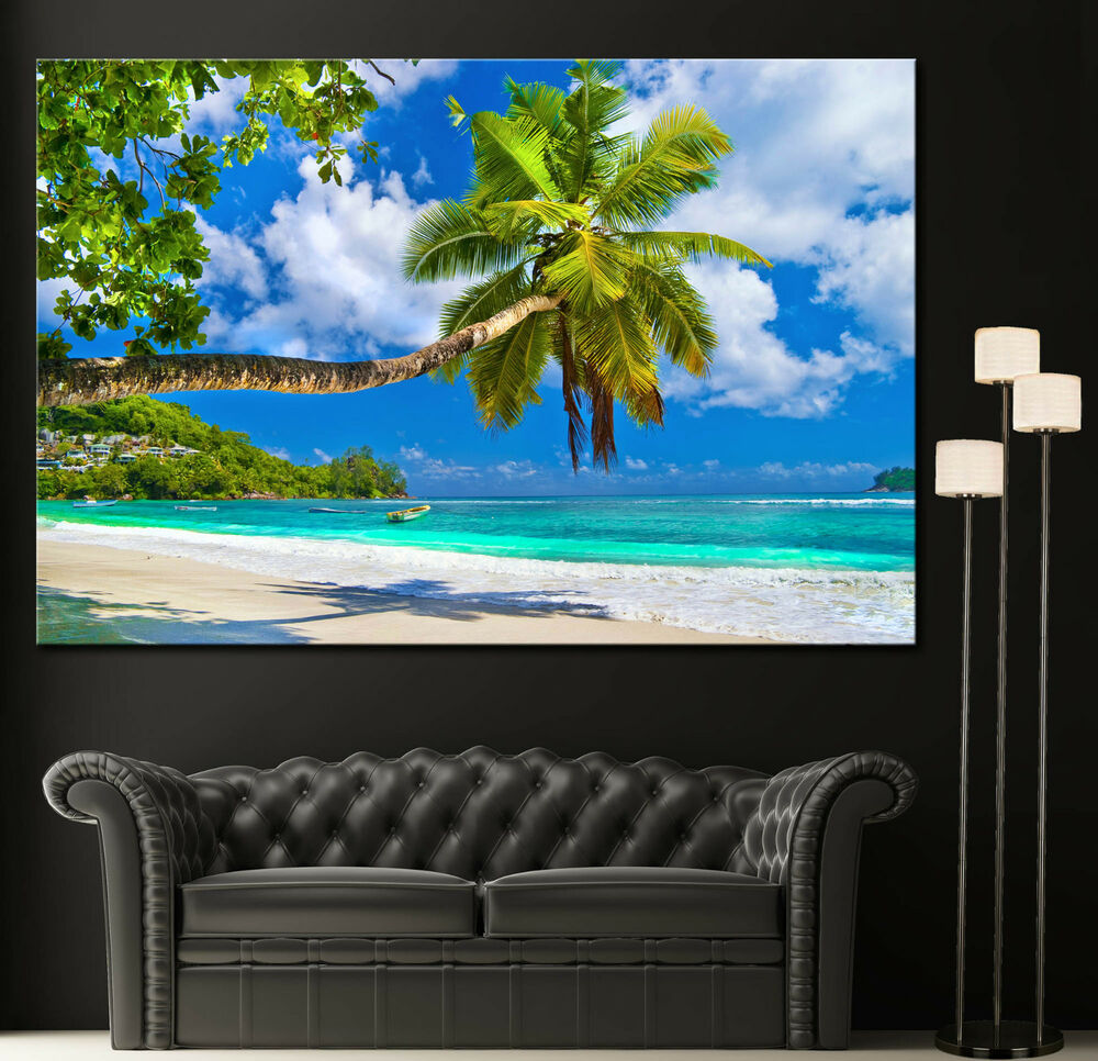 Wall Art Canvas Print Tropical Beach Palm Tree Ocean Decor ...
