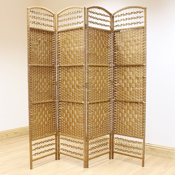 Beige 4 Panel Wicker Room Divider Hand Made Privacy Screen Separator Partitio