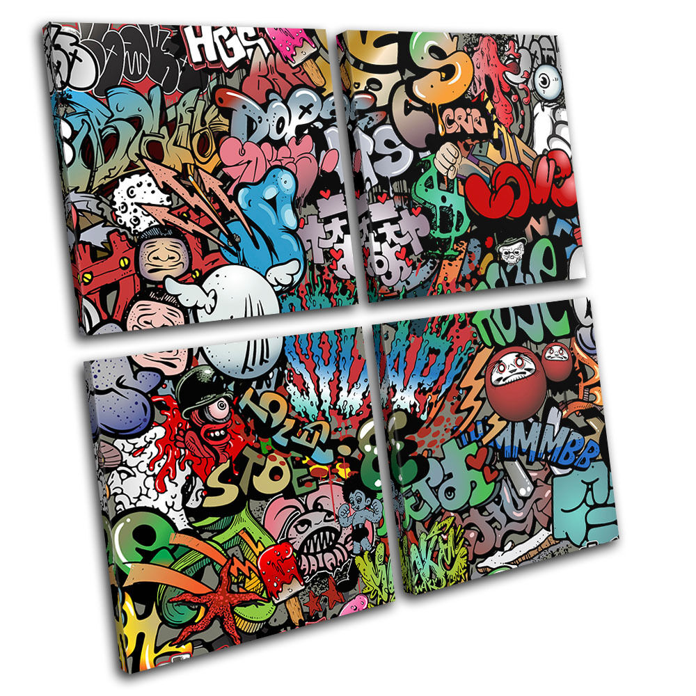 Funky abstract graffiti multi canvas wall art picture for Funky wall art
