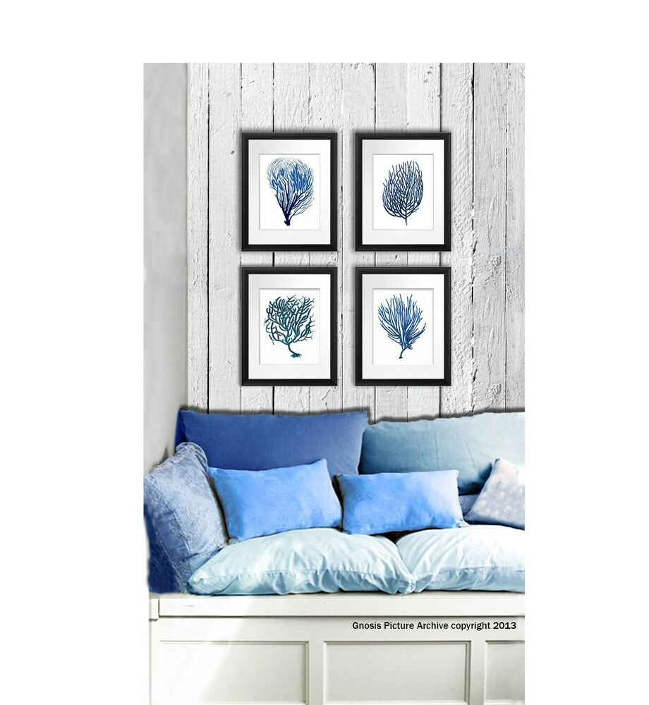 Nautical Decor Images: Wall Art Beach Decor Set Of 4 Blue Sea Coral Prints