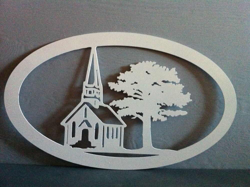 Metal church with tree oval wall art church oval wall decor hand crafted metal ebay - Oval wall decor ...