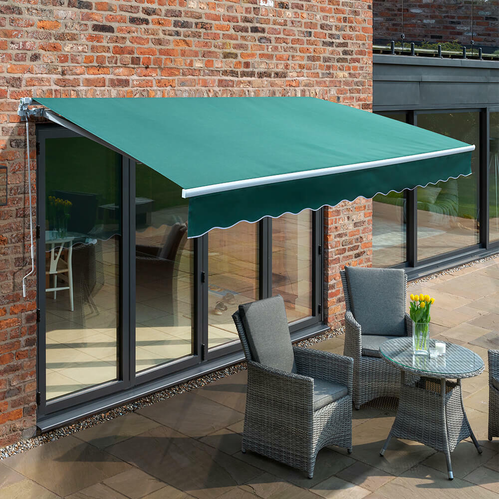 Primrose patio awning manual yard canopy sun shade for Retractable patio awning canopy