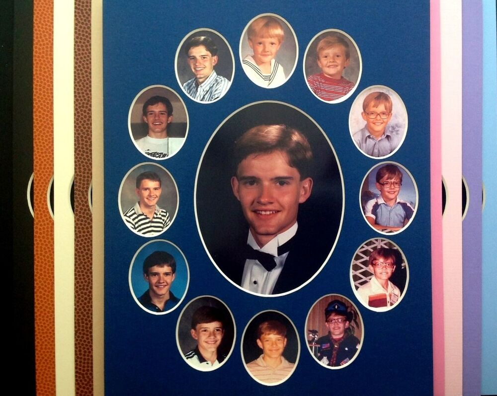School Year Picture Frame Mat Navy 10 Colors Bevel Cut