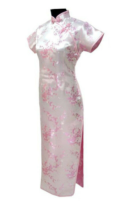 Vtg women pink long chinese tradition wedding prom dress for Ebay china wedding dress
