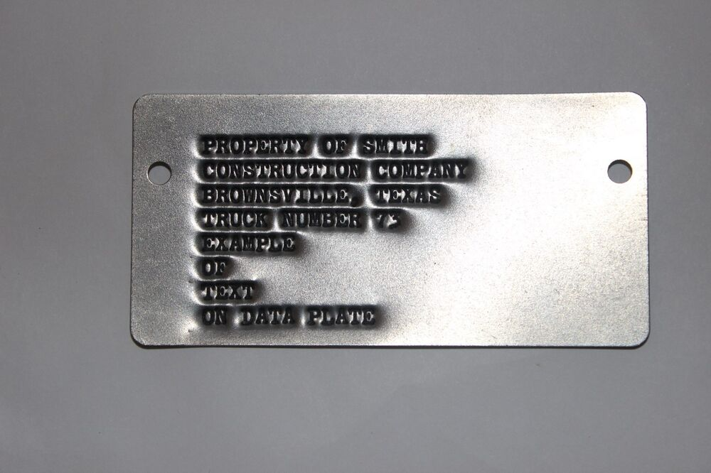 Custom Debossed Metal I D Tag Data Plate For Trailer Jeep
