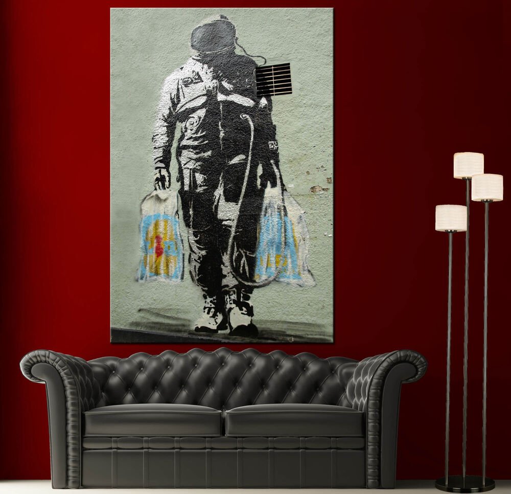 Wall Art Canvas Print Graffiti Banksy Spaceman Home Decor