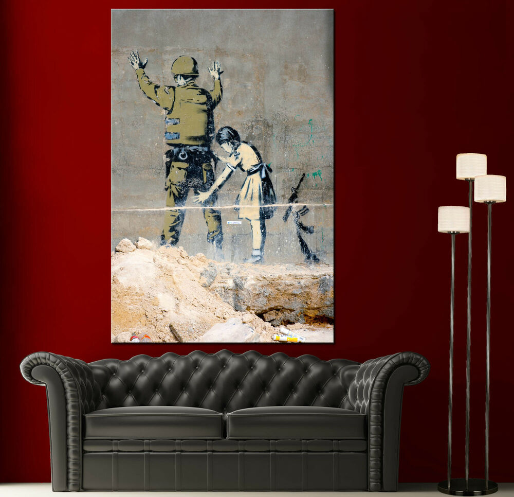 Wall art canvas print banksy graffiti in bethlehem home for Paintings for house decoration
