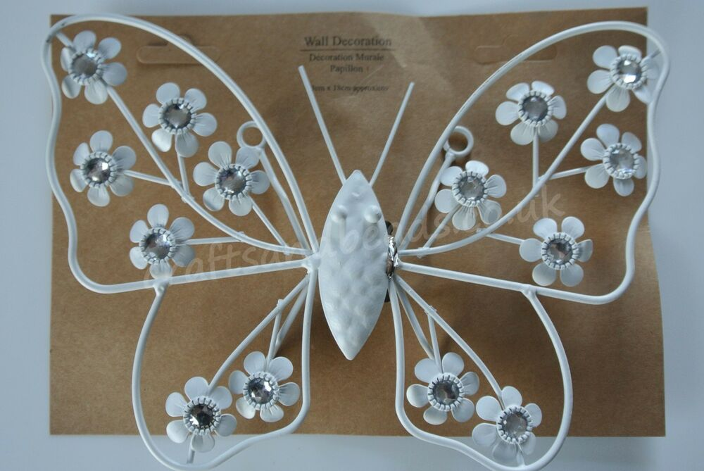 Beautiful White Metal Butterfly Wall Art Plaque Indoors Or Garden EBay