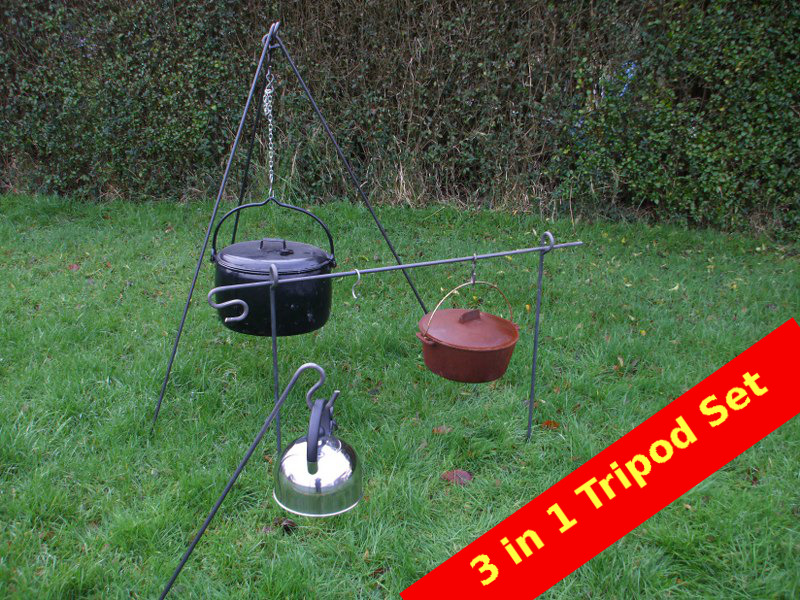 Cooking Tripod Camping Dutch oven Tripod Bushcraft 3 Way Fire Scouts Reanactment