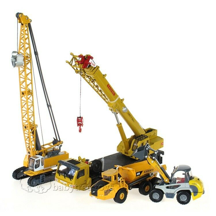 Kdw Diecast Mega Lifter Crane Truck Shovel Cable Excavator Model Cars 4pcs Set Ebay