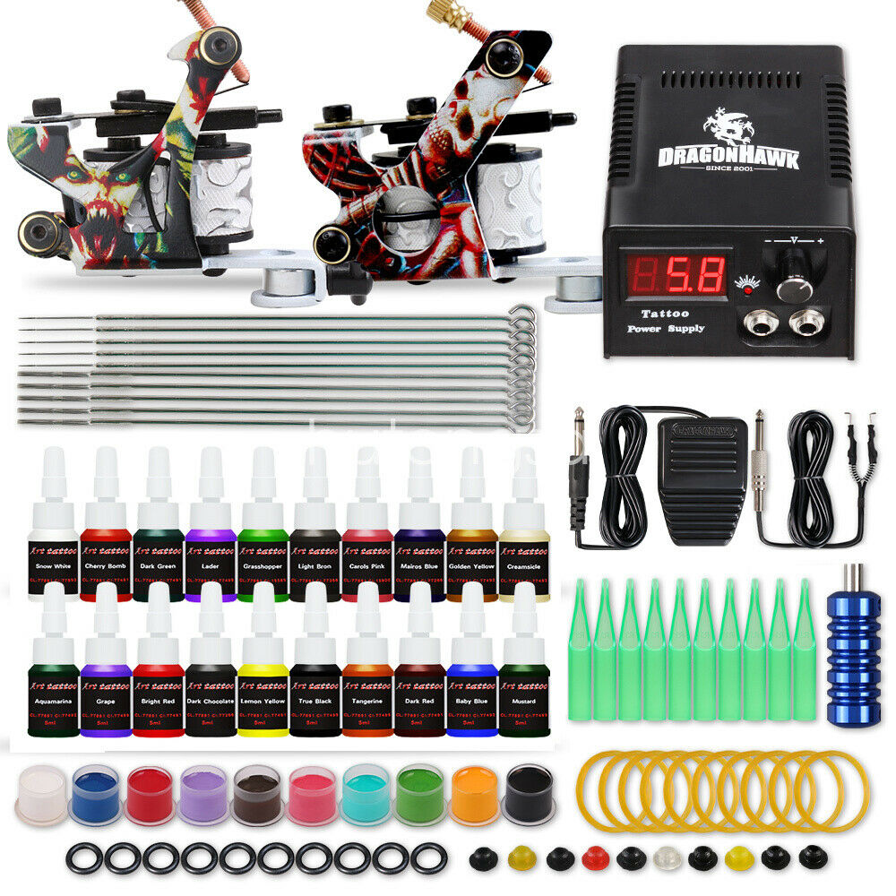 Tattoo kit 2 tattoo machines 20 gun color inks power for Tattoo supplies ebay