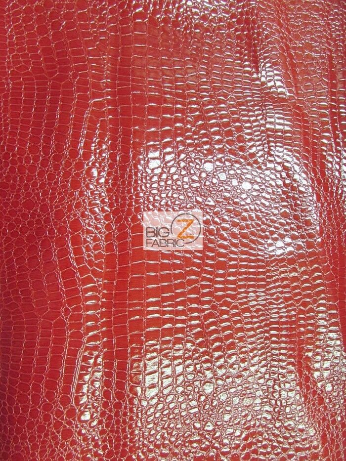 Shiny alligator embossed faux leather vinyl fabric red for Red leather fabric