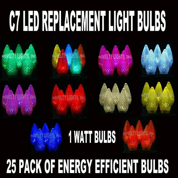 25 Pack C7 LED Replacement Bulb Christmas Outdoor Lights